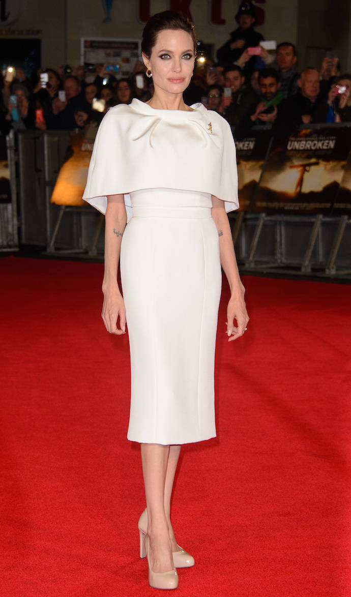 Angelina Jolie Stuns In White At 'Unbroken's UK Premiere