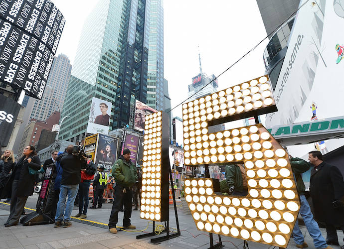 Giant Numerals Delivered To New York's Times Square Ahead Of New Year's Eve Celebration
