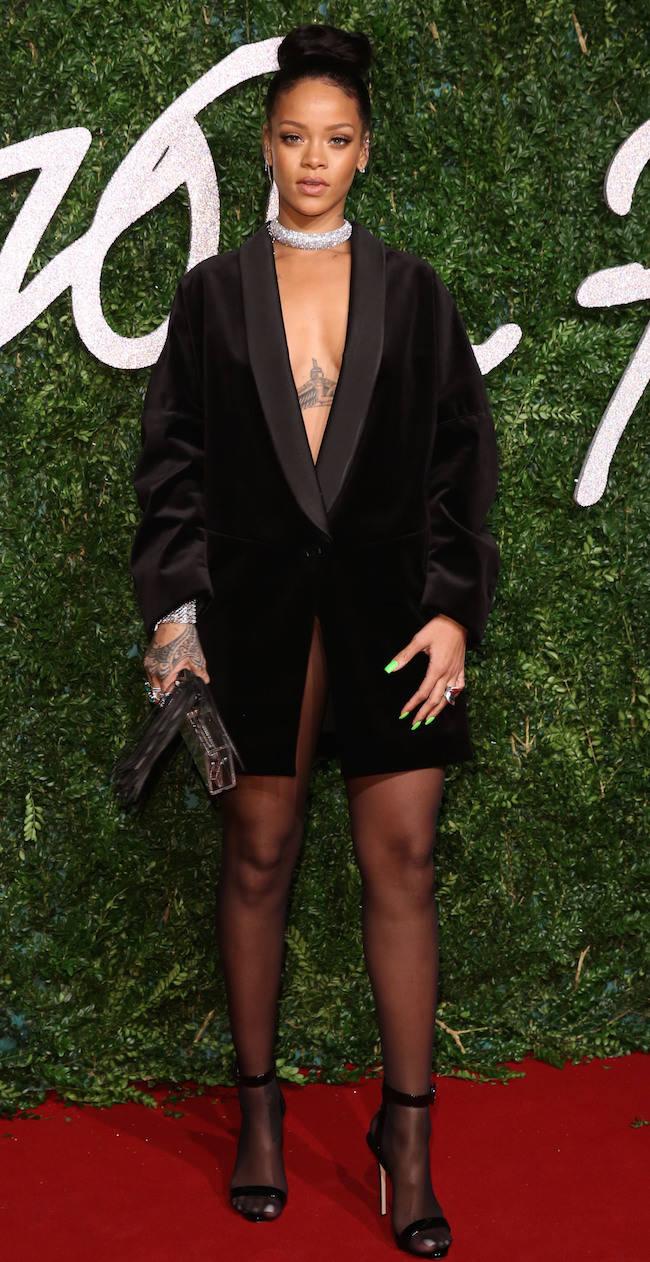 Rihanna Rocks Tuxedo Jacket At British Fashion Awards
