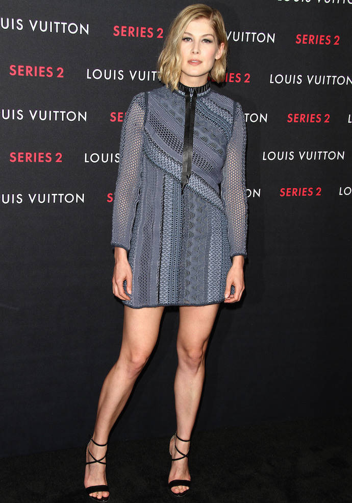 Rosamund Pike Rocks Mini Dress At Louis Vuitton Event