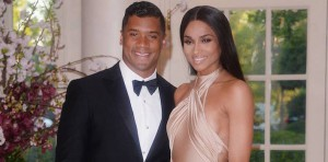 WASHINGTON, DC - APRIL 28: Russell Wilson from the Seattle Seahawks and Ciara Harris arrive for the State dinner in honor of Japanese Prime Minister Shinzo Abe And Akie Abe April 28, 2015 at the Booksellers area of the White House in Washington, DC