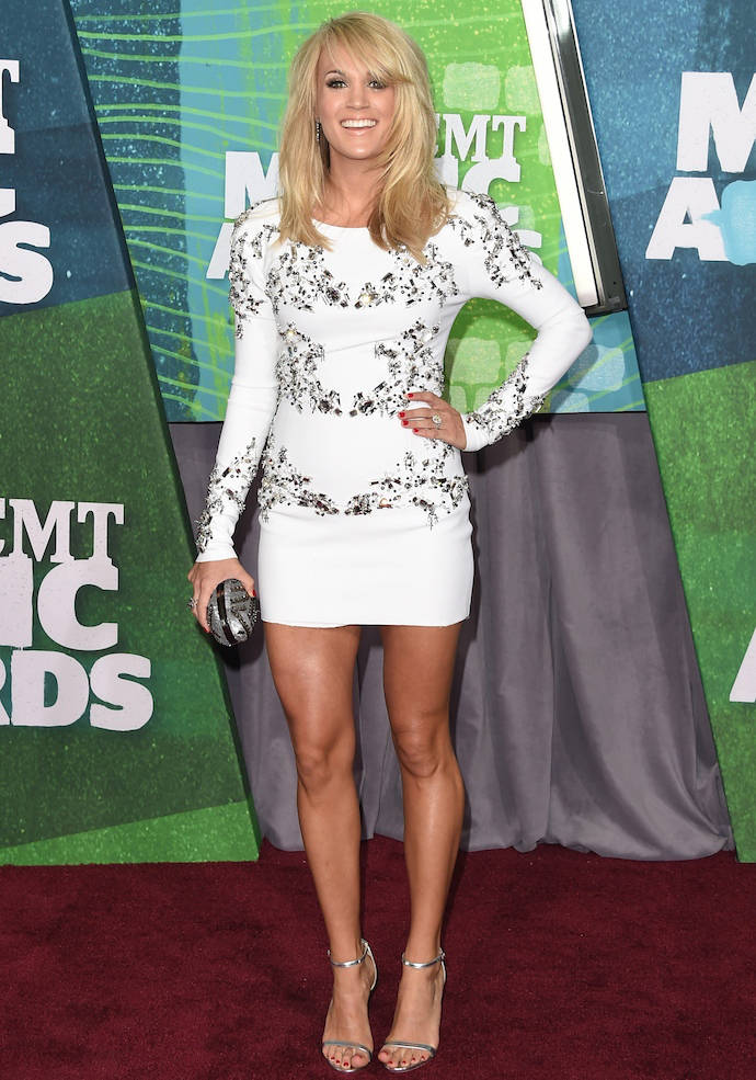 Carrie Underwood Walks First Red Carpet Since Giving Birth At The CMT Awards