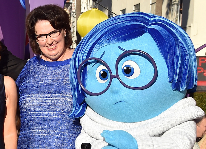 Phyllis Smith with Sadness at the Inside Out premiere