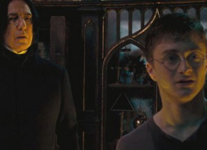 Alan Rickman and Daniel Radcliffe in 'Harry Potter' (Image courtesy of Warner Bros.)Radcliffe in 'Harry Potter'