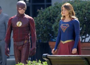 Melissa Benoist and Grant Gustin film 'Supergirl' scene (Image: CW)