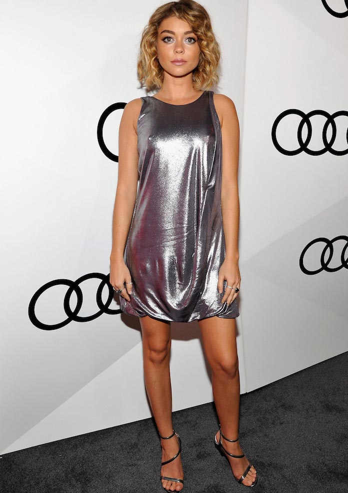 Sarah Hyland Shines In Halston Heritage At Pre Emmy Bash