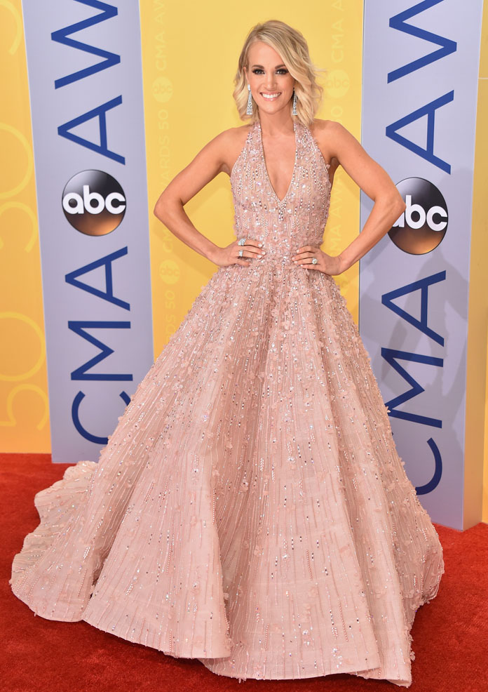 Carrie Underwood Shimmers in Rose Gold Gown