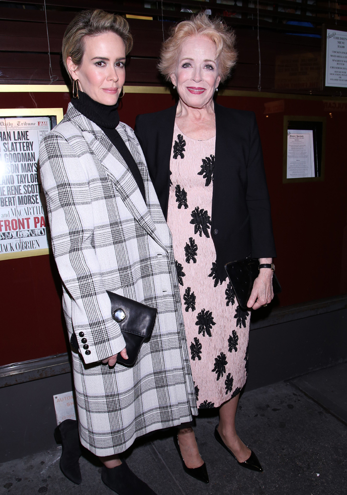 Sarah Paulson and Holland Taylor at The Front Page Opening Night Party