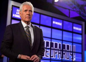 Alex Trebek Raps: YORKTOWN HEIGHTS, NY - JANUARY 13: Host of 'Jeopardy!' Alex Trebek attends a press conference to discuss the upcoming Man V. Machine 'Jeopardy!' competition at the IBM T.J. Watson Research Center on January 13, 2011 in Yorktown Heights, New York. (Photo by Ben Hider/Getty Images)