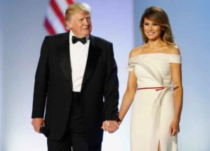 WASHINGTON, DC - JANUARY 20: President Donald Trump and first lady Melania Trump arrive at the Freedom Inaugural Ball at the Washington Convention Center January 20, 2017 in Washington, D.C. President Trump was sworn today as the 45th U.S. President.