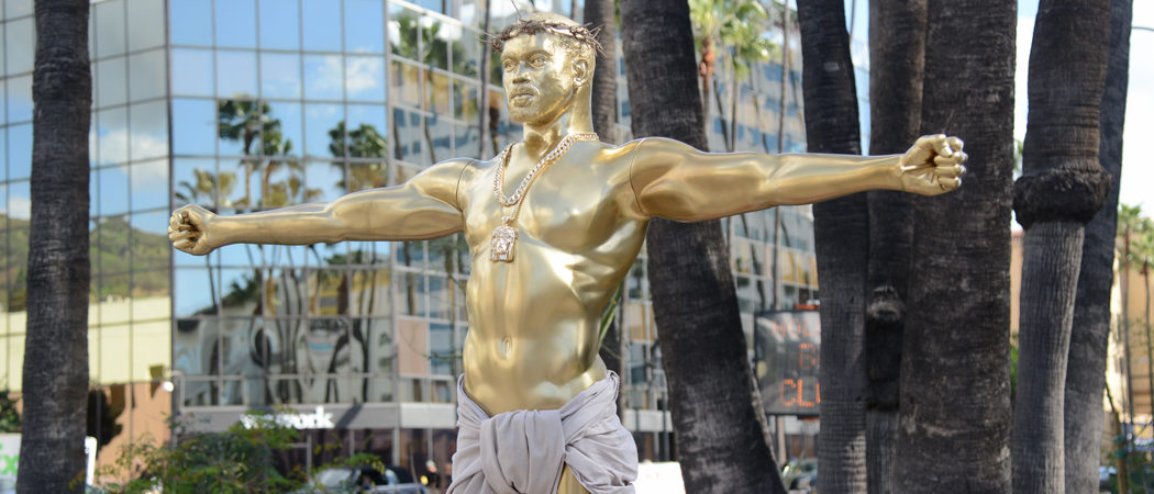 Gold Kanye West Jesus Statue Erected In Hollywood