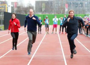LONDON, ENGLAND - FEBRUARY 05: Catherine, Duchess of Cambridge, Prince William, Duke of Cambridge and Prince Harry race during a Marathon Training Day with Team Heads Together at the Queen Elizabeth Olympic Park on February 5, 2017 in London, England.