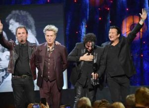 Journey inducted: Jonathan Cain, Ross Valory, Neal Schon, and Steve Perry of Journey onstage at the 32nd Annual Rock & Roll Hall Of Fame Induction Ceremony at Barclays Center. (Image: Getty)