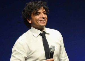 LAS VEGAS, NV - APRIL 23: Screenwriter M. Night Shyamalan speaks onstage during Universal Pictures Invites You to an Exclusive Product Presentation Highlighting its Summer of 2015 and Beyondat The Colosseum at Caesars Palace during CinemaCon, the official convention of the National Association of Theatre Owners, on April 23, 2015 in Las Vegas, Nevada.