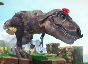 Mario and Cappy possessing a T-Rex in Super Mario Odyssey