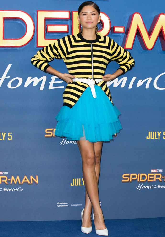 Zendaya Looks Colorful At 'Spider-Man: Homecoming' Photocall