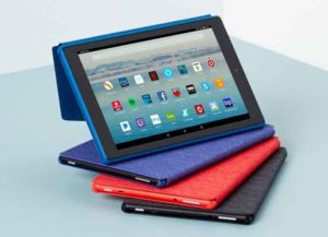 Amazon Fire HD 10 with their protective cases (sold separately)