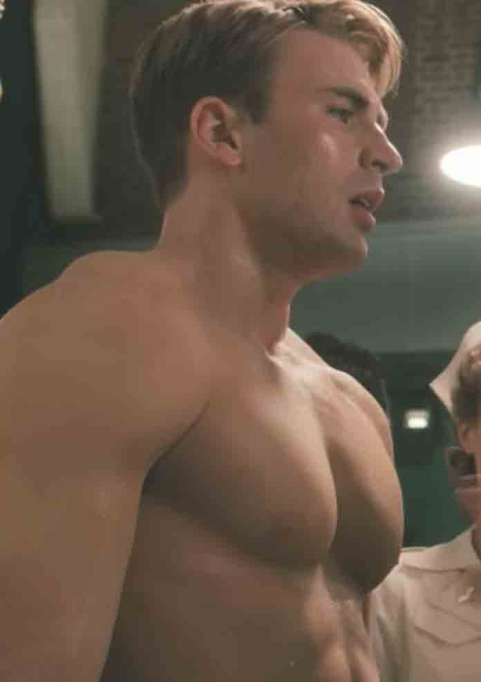 Chris Evans goes shirtless to show off his body in 'Captain America: The First Avenger' (2011)