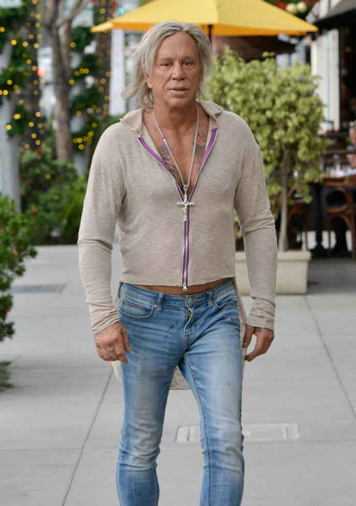 Mickey Rourke Unrecognizable In Eccentric Outfit After