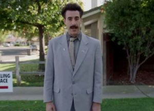 """Borat, Sacha Baron Cohen's Character, Goes Door To Door For Trump: """"I Come To Do Election Tampering!"""" [VIDEO] (Image: YouTube)"""