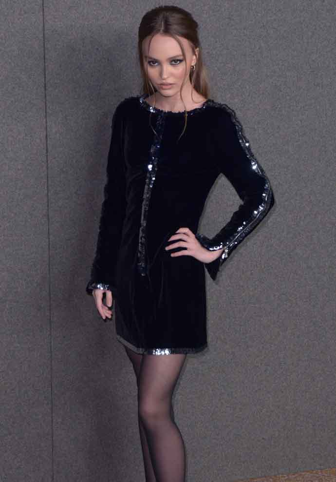 Lily-Rose Depp Goes Edgy In A Velvet Mini Dress At Chanel's