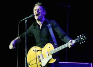 """LAS VEGAS - AUGUST 02: Music artist Bryan Adams performs as he opens for Rod Stewart at the MGM Grand Garden Arena August 2, 2008 in Las Vegas, Nevada. Adams is touring in support of his new album, """"11."""""""