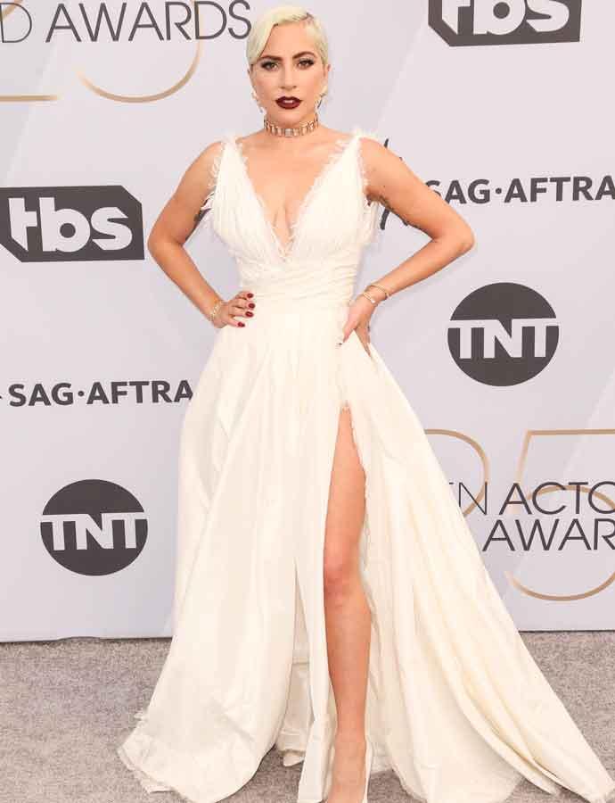 ffd02444cc5 Lady Gaga Stuns In Dior Gown At SAG Awards With Fiancee Christian Carino