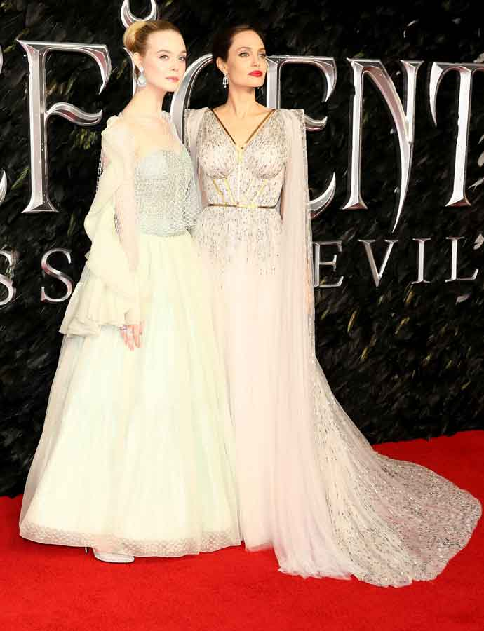 Elle Fanning Angelina Jolie At European Premiere Of