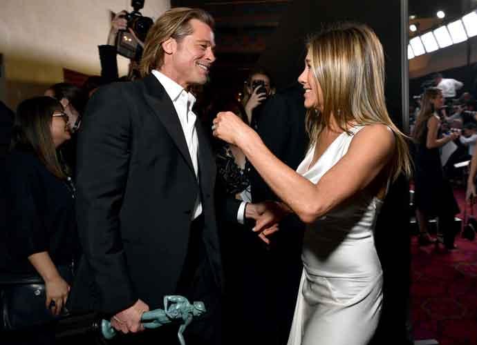 Brad Pitt & Jennifer Anniston Hold Hands After SAG Award Wins, Pitt Jokes About Marriage [Photos]