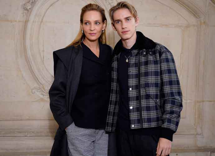 Uma Thurman Attends Paris Fashion Week With Look-Alike Son Levon Thurman-Hawke