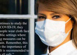 Melania Trump Posts Photo Of Herself Wearing A Face Mask To Fight Coronavirus