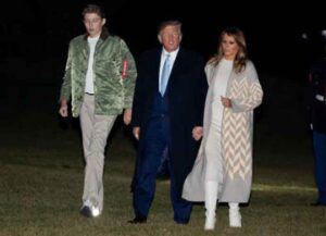 WASHINGTON, DC - JANUARY 05: U.S. President Donald Trump, first lady Melania Trump and Barron Trump arrive at the White House on January 05, 2020 in Washington, DC. The Trumps were returning from spending the holidays at Mar-a-Lago in Palm Bach, Florida (Photo: Getty)