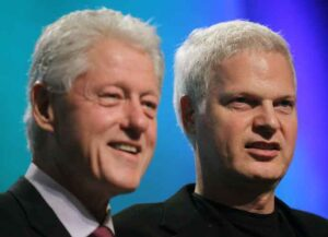 NEW YORK - SEPTEMBER 22: Former U.S. President Bill Clinton (L) and Hollywood mogul Steve Bing look on during the annual Clinton Global Initiative (CGI) September 21, 2010 in New York City. The sixth annual meeting of the CGI gathers prominent individuals in politics, business, science, academics, religion and entertainment to discuss global issues such as climate change and the reconstruction of Haiti. The event, founded by Clinton after he left office, is held the same week as the General Assembly at the United Nations, when most world leaders are in New York City.