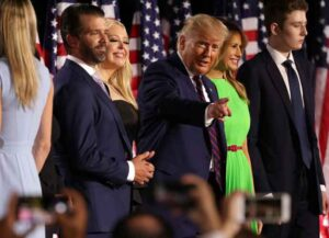 WASHINGTON, DC - AUGUST 27: U.S. President Donald Trump (3R) reacts as he stands with his family members after delivering his acceptance speech for the Republican presidential nomination on the South Lawn of the White House August 27, 2020 in Washington, DC. Trump gave the speech in front of 1500 invited guests.