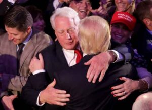 NEW YORK, NY - NOVEMBER 09: Republican president-elect Donald Trump (R) hugs his brother Robert Trump after delivering his acceptance speech at the New York Hilton Midtown in the early morning hours of November 9, 2016 in New York City. Donald Trump defeated Democratic presidential nominee Hillary Clinton to become the 45th president of the United States.
