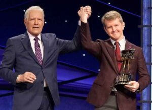 Alex Trebek & Ken Jennings on 'Jeopardy' set (Image: Courtesy Jeopardy)