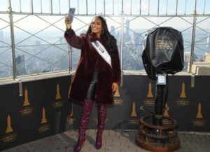 NEW YORK, NEW YORK - DECEMBER 10: Miss USA, Asya Branch visits The Empire State Building on December 10, 2020 in New York City.