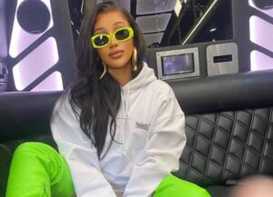 Cardi B Shows Off Neon Green Balenciaga's Knife Shark Boots