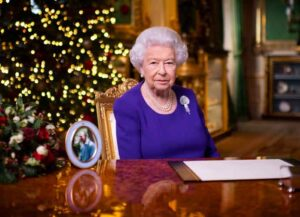 WINDSOR, ENGLAND: No use after 24 January 2021 without the prior written consent of The Communications Secretary to The Queen at Buckingham Palace. In this pool image released on December 25th, Queen Elizabeth II records her annual Christmas broadcast in Windsor Castle, Windsor, England.