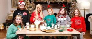 BEVERLY HILLS, CALIFORNIA - DECEMBER 17: Tori Spelling and family celebrate the holiday season with tips from #SantasJournal from @gotmilk. The creative effort is brought to families by the California Milk Processor Board