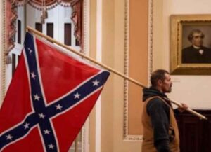 Confederate Flag Brought Inside U.S. Capitol Building For First Time Ever By Trump Rioter