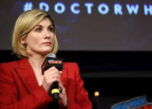 NEW YORK, NY - OCTOBER 07: Jodie Whittaker speaks onstage at the DOCTOR WHO panel during New York Comic Con in The Hulu Theater at Madison Square Garden on October 7, 2018 in New York City. (Photo by Andrew Toth/Getty Images for New York Comic Con)