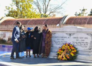 ATLANTA, GEORGIA - JANUARY 18: Christine King Farris, Dr. Bernice A. King and the family of Dr. Martin Luther King lay a wreath on his grave during the 2021 King Holiday Observance Beloved Community Commemorative Service on January 18, 2021 in Atlanta, Georgia. (Photo by Paras Griffin/Getty Images)