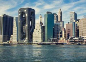 Hayri Atak Architectural Design Studio revealed a 688-foot tall sci-fi style skyscraper rendering on the Manhattan skyline. The building has twisting, tube-like structures, coiled inside a frame. (Image courtesy of Hayri Atak Architectural Design Studio)