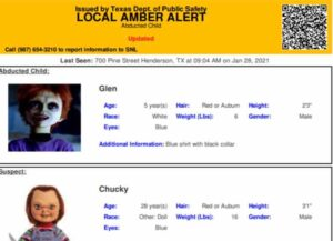 Texas Police Apologize For Putting Out Amber Alert For Missing Child With Abductor 'Chucky' (Photo: Twitter)