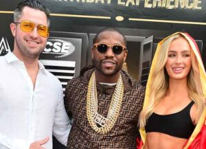 MIAMI BEACH, FL - FEBRUARY 20: Floyd Mayweather(C), Michael Mak (L) and Brooke Lily (R) Brazelton arrive at a Futuristic-themed Birthday Party Experience for 50 time Champion Boxer Floyd Mayweather 44th Birthday Extravaganza Private Mansion Party hosted by Celebrity Sports Entertainment (CSE) at a Private Mansion on Miami Beach Star Island on February 20, 2021 in Miami Beach, Florida. (Photo by Johnny Louis/Getty Images)