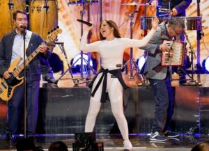 MIAMI, FLORIDA - FEBRUARY 17: Gloria Trevi performs onstage during rehearsals for Univision's 33rd Edition of Premio Lo Nuestro a la Música Latina at AmericanAirlines Arena on February 17, 2021 in Miami, Florida. (Photo by Rodrigo Varela/Getty Images for Univision)