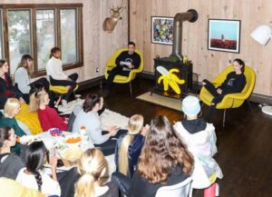 Supermodel Coco Rocha, top right, and her husband James Conran, top left, founders of the Coco Rocha Model Camp, lead a discussion at the camp in Putnam County, New York, U.S., on Sunday, Feb. 16, 2020. Even before the Covid-19 outbreak, Rocha had made it her mission to improve working conditions for the next generation of models through her Coco Rocha Model Camp, which opened in 2018. Now shes trying to help her students figure out what a post-pandemic business model for the industry will look like, too. Photographer: Rebecca Smeyne/Bloomberg via Getty Images)