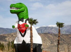 CABAZON, CALIFORNIA - FEBRUARY 14: The Cabazon Dinosaurs are seen painted in celebration of Valentine's Day on February 14, 2021 in Cabazon, California. (Photo by Rich Fury/Getty Images)