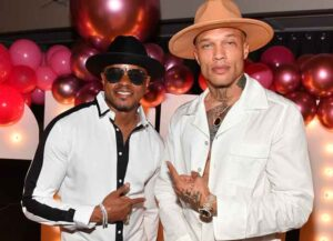 """ATLANTA, GEORGIA - MARCH 25: Singer Donell Jones and actor/model Jeremy Meeks attend the """"Secret Society"""" Pajama Party & Movie Premiere at The West Venue on March 25, 2021 in Atlanta, Georgia. (Photo by Paras Griffin/Getty Images)"""